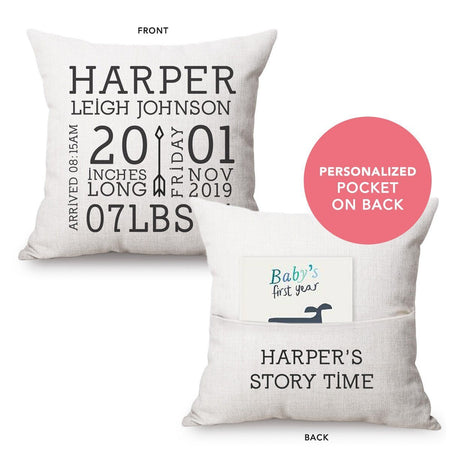 Personalized Baby Announcement Pocket Pillow