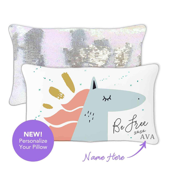 BE FREE Horse Mermaid Pillow w/ Iridescent & Silver Sequins - Mermaid Pillow Co