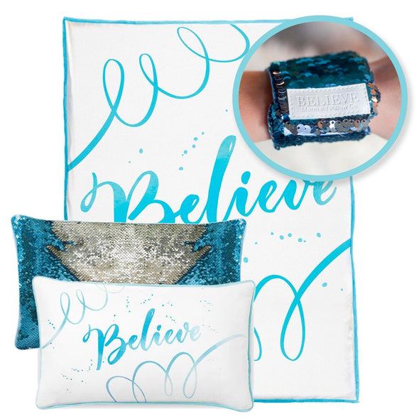 BELIEVE Pillow & Velvet Blanket Set (+ FREE Bracelet) - Mermaid Pillow Co