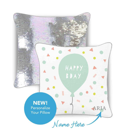 HAPPY BIRTHDAY Mermaid Pillow w/ Reversible Iridescent & Silver Sequins - Mermaid Pillow Co