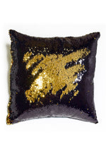 Black & Shiny Gold Sequin Mermaid Pillow - Mermaid Pillow Co