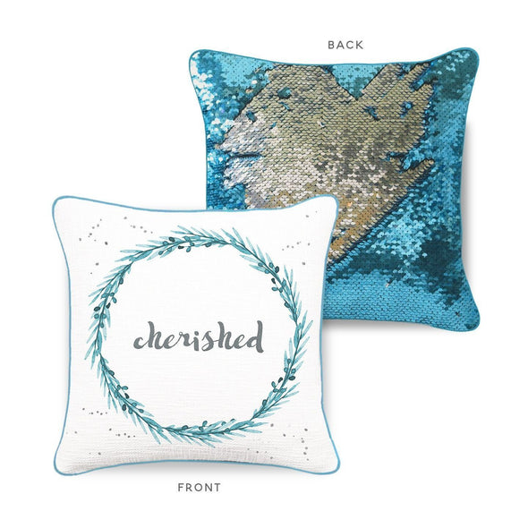 CHERISHED Mermaid Pillow w/ Lake Blue & Silver Sequins