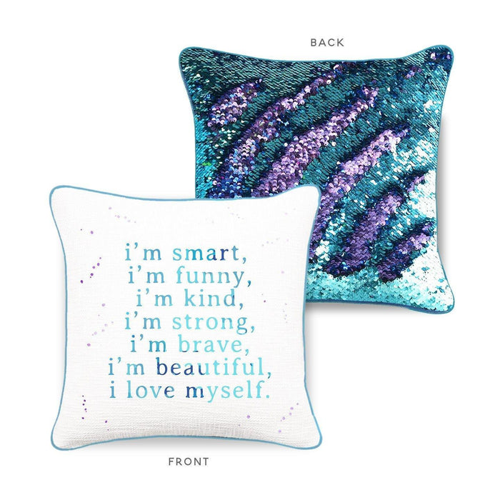 CONFIDENCE Mermaid Pillow w/ Aqua & Purple Sequins - Mermaid Pillow Co