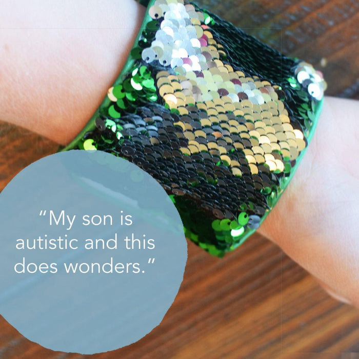 *Velcro Original* - Magic DISCOVER Mermaid Bracelet w/ Green & Silver Reversible Sequins - Mermaid Pillow Co