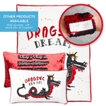 DREAM Dragon Pillow w/ Reversible Black & Red Sequins - Mermaid Pillow Co