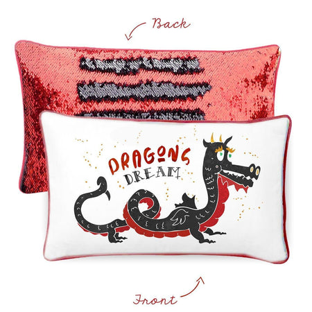 DREAM Dragon Pillow w/ Reversible Black & Red Sequins