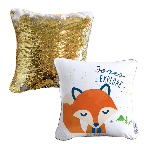 Foxes EXPLORE Mermaid Pillow w/ Gold & White Sequins