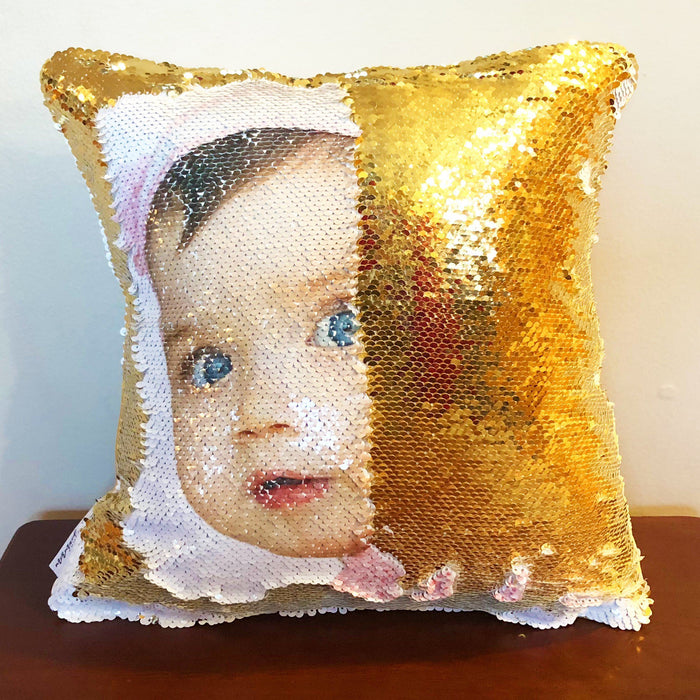 BabyFace: Print a FACE on Reversible Sequins - Mermaid Pillow Co