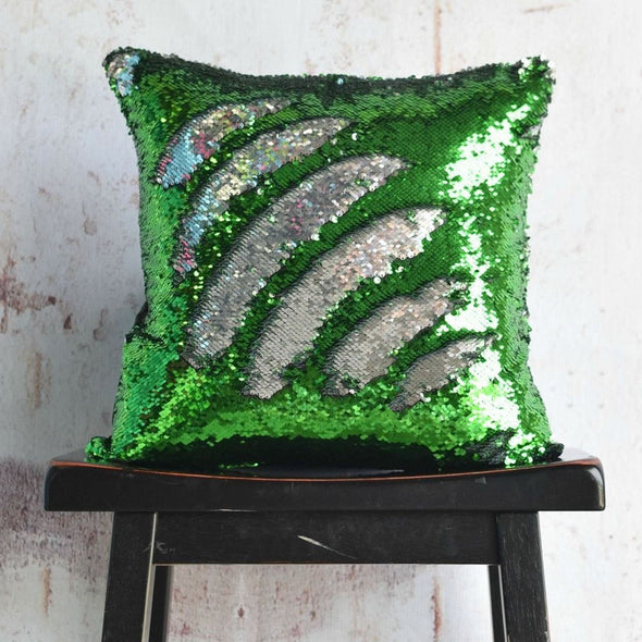 Grass Green & Silver Reversible Sequin Mermaid Pillow