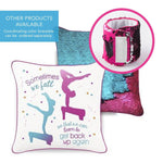 Gymnastics Sometimes We Fall Mermaid Pillow w/ Burgundy & Teal Reversible Sequins - Designed by Aubree (Age 5) - Mermaid Pillow Co