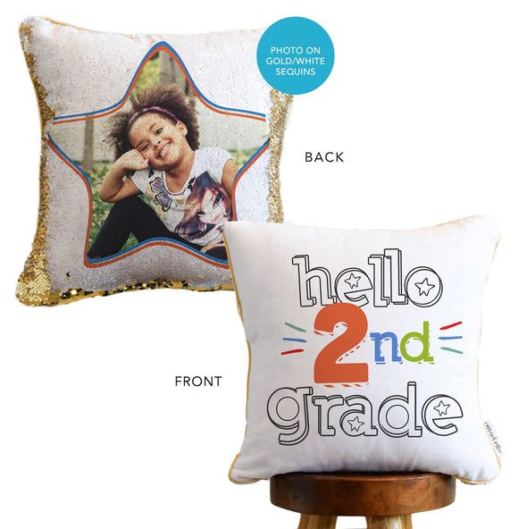 HELLO First Day of School: *Add Your Hidden Photo* to a Sequin Pillow!