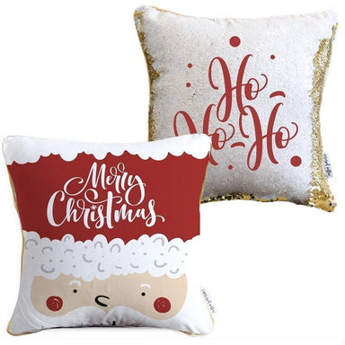 Ho Ho Ho Merry Christmas Holiday 2-Sided Santa Claus Holiday Pillow with White & Gold Reversible Sequins
