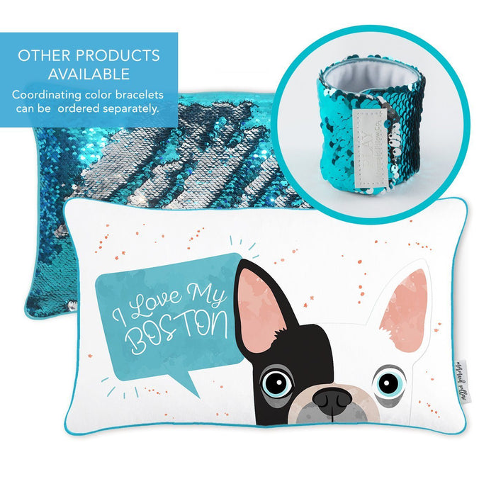 I Love My Boston Pillow w/ Reversible Lake Blue and Silver Sequins - Mermaid Pillow Co