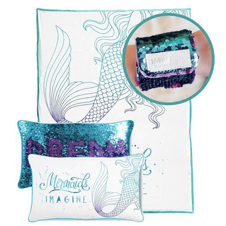 FREE SLAP BRACELET with this IMAGINE Mermaid Pillow & Velvet Blanket Set - Mermaid Pillow Co