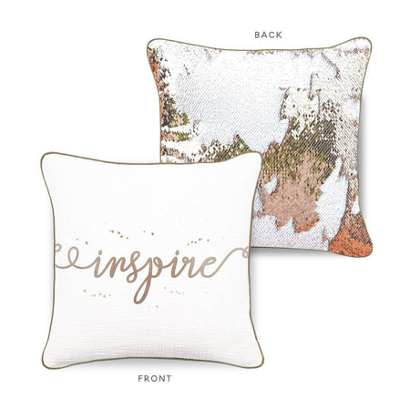 INSPIRE Mermaid Pillow w/ Champagne & White Sequins - Mermaid Pillow Co