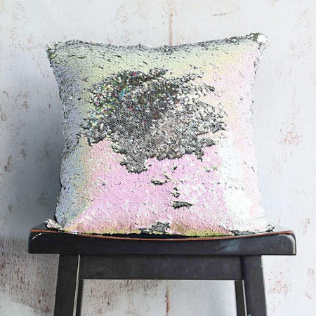 Iridescent & Silver Sequin Mermaid Pillow - Mermaid Pillow Co