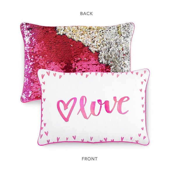 LOVE Pillow w/ Reversible Pink & Silver Sequins - Mermaid Pillow Co
