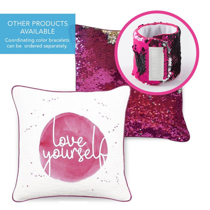 LOVE YOURSELF Mermaid Pillow w/ Fuchsia & Silver Sequins - Mermaid Pillow Co