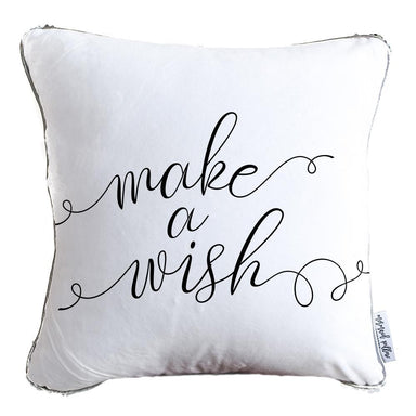 Make A Wish Decorative Pillow w/ Silver & White Reversible Sequins