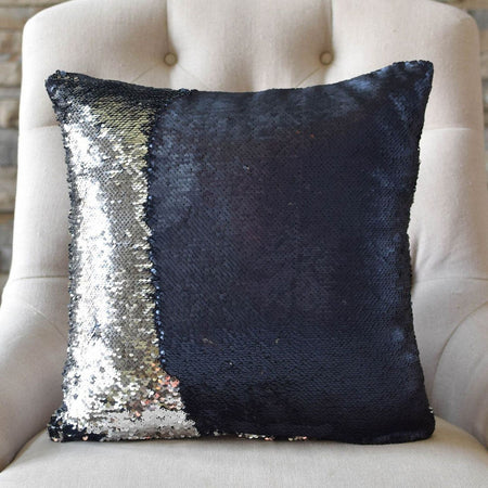 Matte Navy & Silver Reversible Sequin Mermaid Pillow - Mermaid Pillow Co