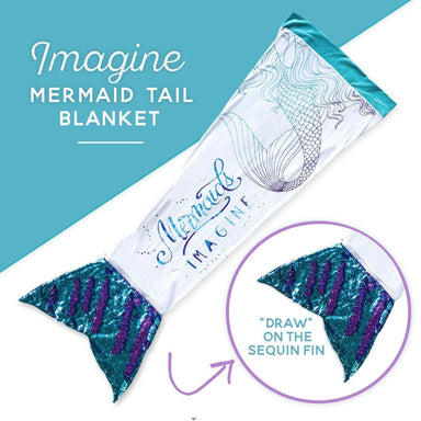 IMAGINE Mermaid Tail Blanket w/ Reversible Sequins on Fin - Mermaid Pillow Co