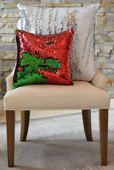 Oversized 24 x 24 White Rice & Silver Sequin Mermaid Pillow COVER ONLY - Mermaid Pillow Co
