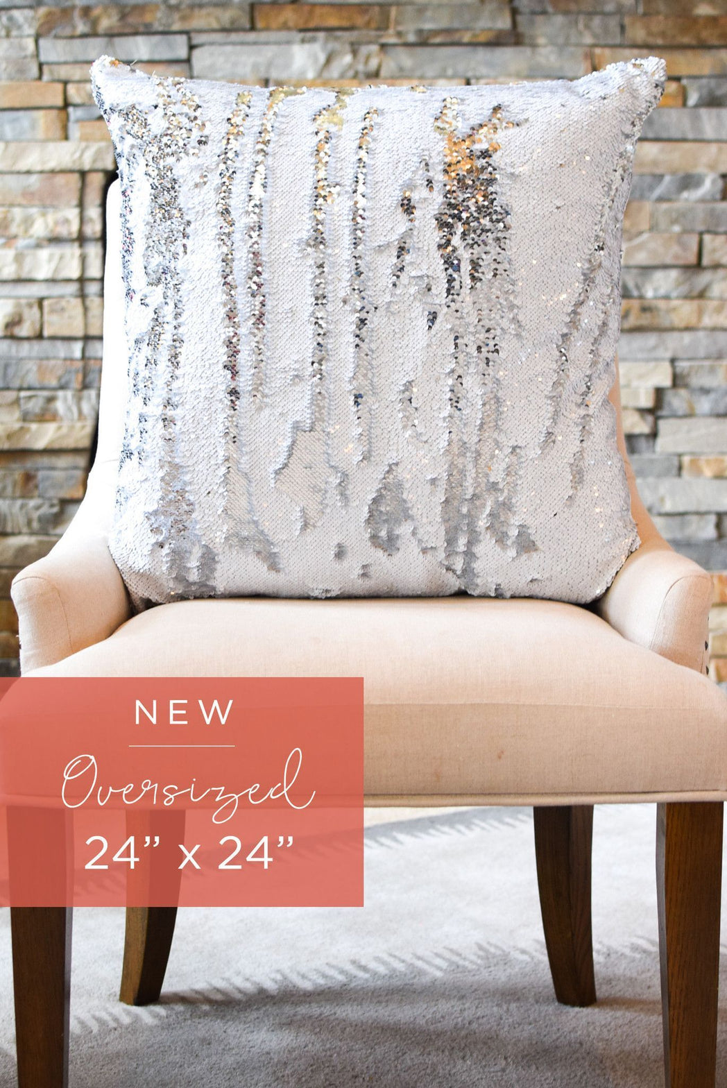 Oversized 24 x 24 White Rice & Silver Sequin Mermaid Pillow COVER ONLY