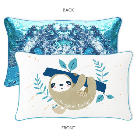 SWEETEST DREAMS Sloth Mermaid Pillow w/ Reversible Lake Blue & Silver Sequins - Mermaid Pillow Co
