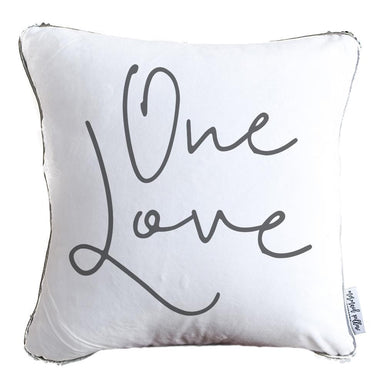 One Love Decorative Pillow w/ Silver & White Reversible Sequins