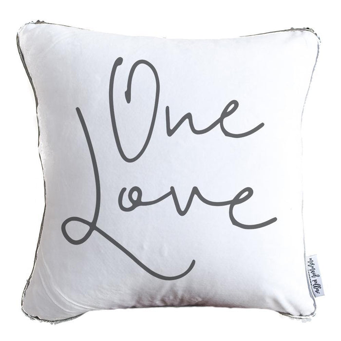 One Love Decorative Pillow w/ Gold & White Reversible Sequins