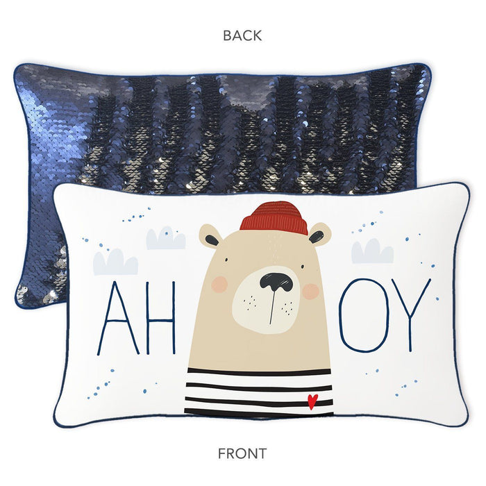 AHOY Sailor Mermaid Pillow with Reversible Navy & Silver Sequins - Mermaid Pillow Co