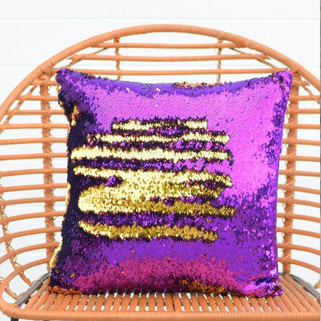Orchid Purple & Dark Gold Mermaid Pillow