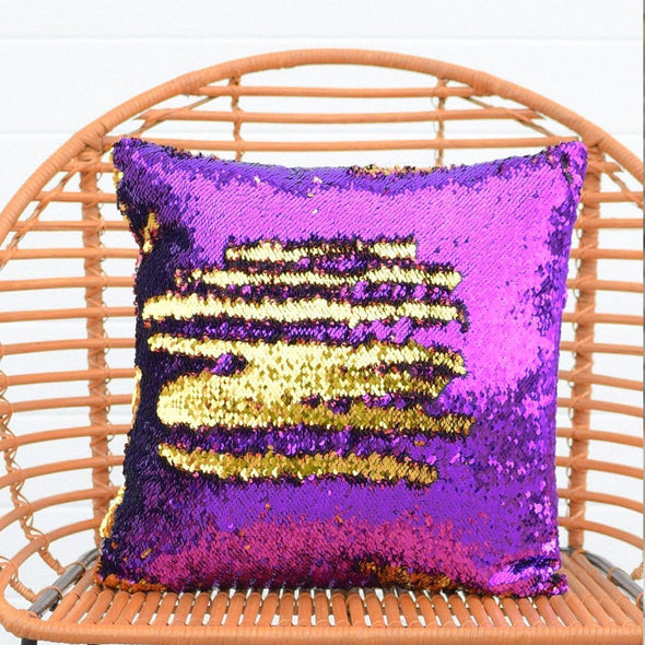 Orchid Purple & Dark Gold Sequin Mermaid Pillow - Mermaid Pillow Co