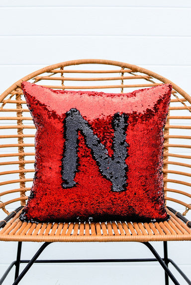 Red & Black Sequin Mermaid Pillow - Mermaid Pillow Co