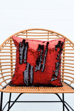 Red & Black Sequin Mermaid Pillow