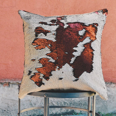 Matte Brick Red & Champagne Sequin Mermaid Pillow - Mermaid Pillow Co