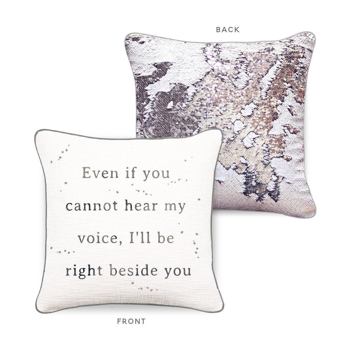 RIGHT BESIDE YOU Mermaid Pillow w/ White & Silver Sequins - Mermaid Pillow Co