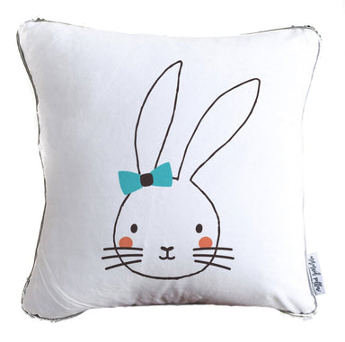 Rabbit in Blue Bow Decorative Kids Pillow w/ Silver & White Reversible Sequins
