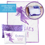 SOAR Fairy Pillow w/ Reversible Lavender Purple & Iridescent Sequins - Mermaid Pillow Co