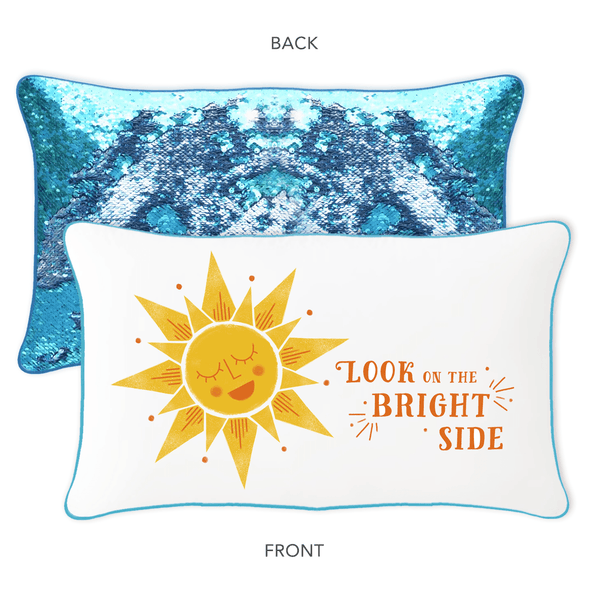 Look on the Bright Side Mermaid Pillow w/ Lake Blue & Silver Reversible Sequins - Designed by Ella (Age 12) - Mermaid Pillow Co