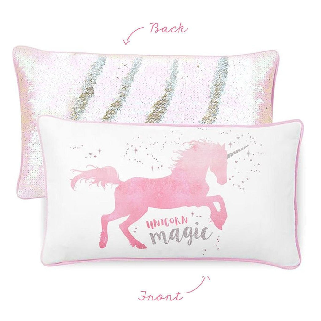 Magical Unicorn Pillow W Reversible Iridescent Silver Sequins