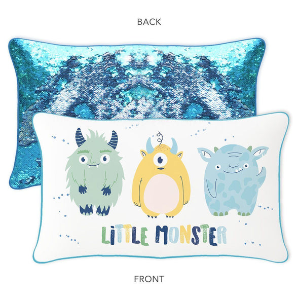 LITTLE MONSTER Mermaid Pillow w/ Reversible Lake Blue & Silver Sequins - Mermaid Pillow Co