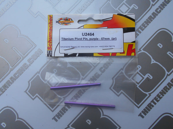 Schumacher 57mm Purple Titanium Pivot Pins (2pcs), U2464, Mi1, Mission, Fusion