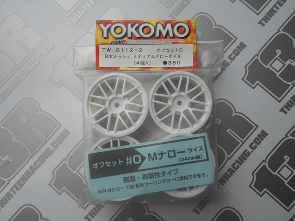 Yokomo 8 Spoke Mesh 24mm Touring Car Wheels (4pcs), TW-0112-2, Rally, 12mm Hex Fit