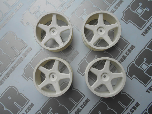 Schumacher CAT 2000 Ballistic Buggy 5 Spoke Front Wheels - White - New Loose (4pcs), EC, ECS, SE 98, 3000