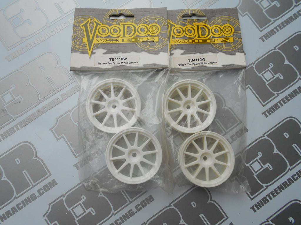 Voodoo 10 Spoke 21mm Narrow Wheels - White (4pcs), TB4110W, Touring/Rally, 12mm Hex Fit