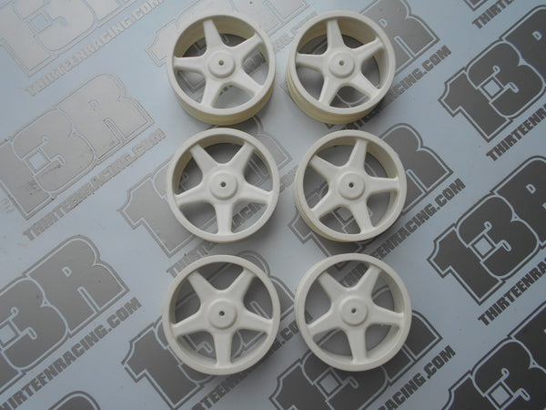 Team Losi XX Ballistic Buggy 5 Spoke Front Wheels - White - New Loose (6pcs), XXX, Slim