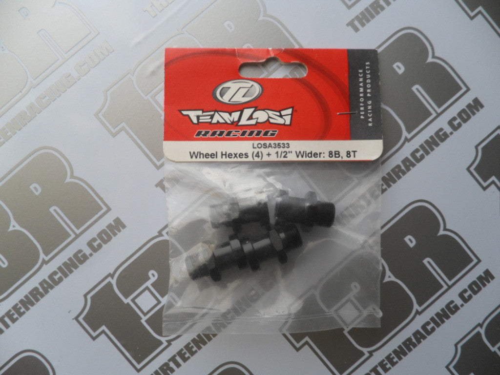 "Team Losi 8B/8T Wheel Drive Hexes + 1/2"" Wider (4pcs), LOSA3533"