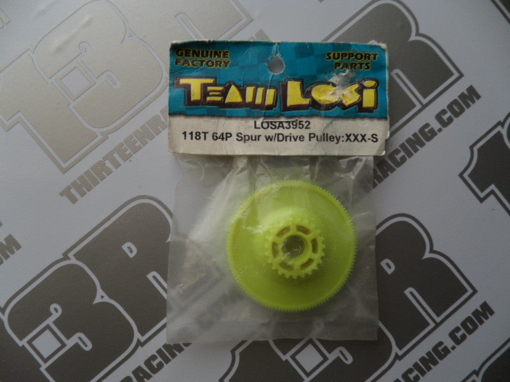 Team Losi XXXS 118T 64dp Spur Gear & Drive Pulley, LOSA3952