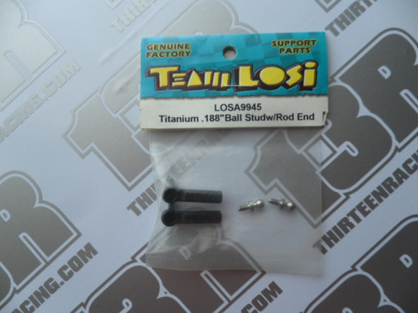 "Team Losi Titanium .188"" (3/16"") Ball Studs & Rod Ends (2), LOSA9945"